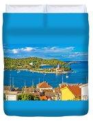 Harbor Of Vis Island Panorama Duvet Cover