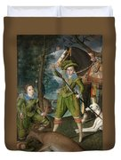 Henry Frederick Prince Of Wales With Sir John Harington In The Hunting Field Duvet Cover