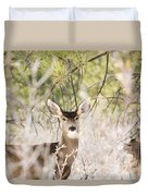 Herd Of Mule Deer In Deep Snow Duvet Cover