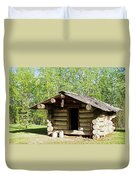 Historic Log Trappers Cabin Duvet Cover
