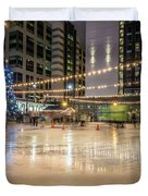 Holiday Scenes In Uptown Charlotte North Carolina Duvet Cover
