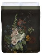 Hollyhocks And Other Flowers In A Vase Duvet Cover