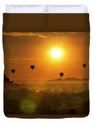 Holy Temple And Hot Air Balloons At Sunrise Duvet Cover by Pradeep Raja PRINTS