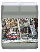 Achetez Les Meilleurs Peintures De Scenes De Montreal En Hiver Winter Scene Paintings Duvet Cover