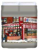 Original Montreal Paintings For Sale Peintures A Vendre Restaurant La Quebecoise Deli Duvet Cover