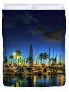 Honolulu Harbor By Night Duvet Cover