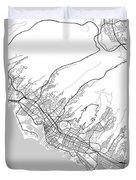 Honolulu Hawaii Usa Light Map Duvet Cover
