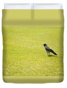 Hooded Crow Bird Gathering Hay Duvet Cover