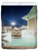 Hot Tubs And Ingound Heated Pool At A Mountain Village In Winter Duvet Cover