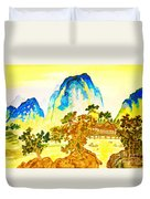 House In Mountains Duvet Cover