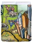 Houston Texas Cartoon Map Duvet Cover
