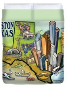 Houston Texas Cartoon Map Duvet Cover