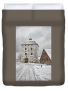 Hovdala Castle Gatehouse In Winter Duvet Cover