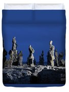 Human Figures Made From Stones At Night Duvet Cover