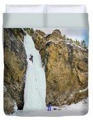 Ice Climbers On A Route Called Professor Falls Rated Wi4 In Banf Duvet Cover