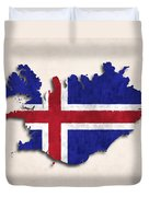 Iceland Map Art With Flag Design Duvet Cover