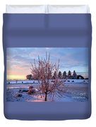 Icy Tree At Sunset  Duvet Cover