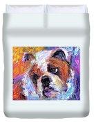 Impressionistic Bulldog Painting  Duvet Cover