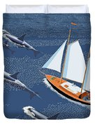 In The Company Of Whales Duvet Cover