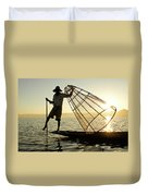 Inle Lake Fisherman Duvet Cover