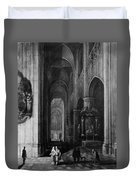 Interior Of A Gothic Church At Night Duvet Cover