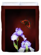 Iris And Butterfly Duvet Cover