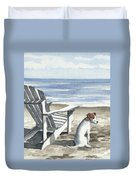 Jack Russel Terrier At The Beach Duvet Cover