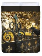 Jackdaw On Church Gates Duvet Cover by Amanda Elwell