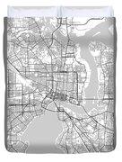 Jacksonville Florida Usa Light Map Duvet Cover