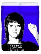 Jane Fonda Mug Shot - Blue Duvet Cover