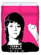 Jane Fonda Mug Shot - Pink Duvet Cover