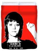 Jane Fonda Mug Shot - Red Duvet Cover