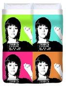 Jane Fonda Mug Shot X4 Duvet Cover