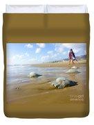 Jellyfish On The Beach  Duvet Cover