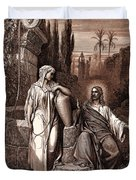 Jesus And The Woman Of Samaria Duvet Cover