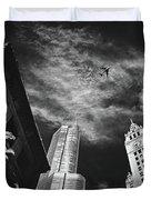 Jet Over Michigan Avenue Duvet Cover