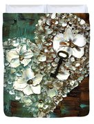Heart Key Modern Valentines Day Art Duvet Cover