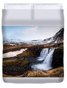Kirkjufellsfoss Waterfalls Iceland Duvet Cover