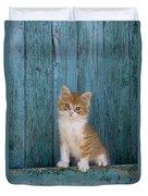 Kitten On A Greek Island Duvet Cover