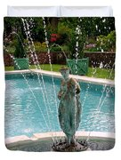 Lady In Fountain Duvet Cover