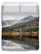 Lake Cabins In Fall Duvet Cover