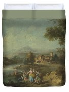 Landscape With A Group Of Figures Fishing Duvet Cover