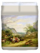 Landscape With Figures And Cattle Duvet Cover