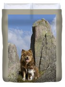 Lapinko�ra Dog And His Pup Duvet Cover