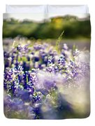 Lavender Purple Flower Blooming On Side Road In Texas At Sunset Duvet Cover