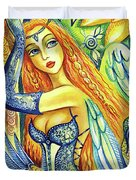 Fairy Leda And The Swan Duvet Cover