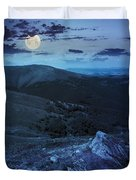 Light On Stone Mountain Slope With Forest At Night Duvet Cover