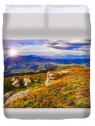 Light On Stone Mountain Slope With Forest Duvet Cover