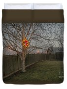 Lit Christmas Wreath Hanging In Tree Duvet Cover