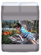 Little Boy And Flowers Duvet Cover